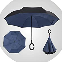 umbrella Reverse Double Windproof fashion Layer Rain Umbrella Inverted Auto Inside Out Rain Protection C-Hook with Hands new,21