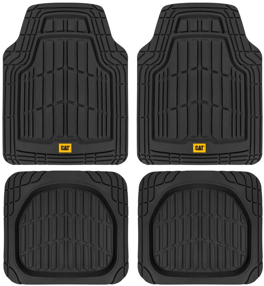 CAT ToughRide Heavy-Duty 4 Piece Rubber Floor Mats for Car Truck Van SUV, Black – Odorless Trim to Fit Car Floor Mats, All Weather Deep Dish Automotive Floor Mats, Total Dirt Protection