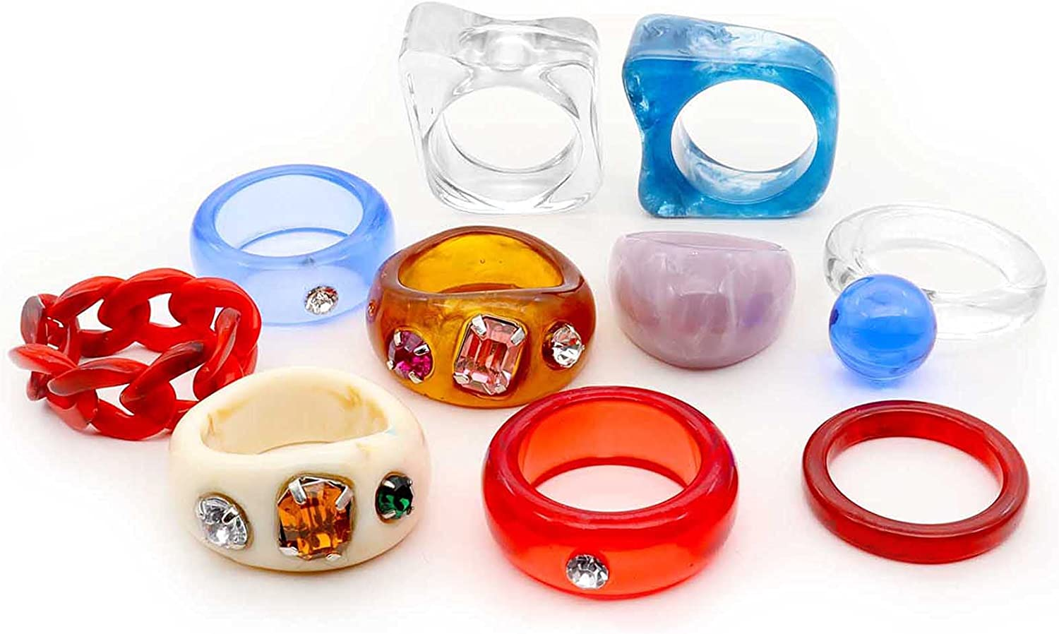 ZZ ZINFANDEL Resin Rings Colorful Acrylic Rings for Women,10PCS Vintage Stacking Plastic Resin Ring Wedding Rings for Girls Lolita Party Cute Jewelry