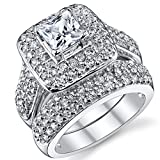 1 Carat Princess Cut Cubic Zirconia Sterling Silver 925 Wedding Engagement Ring Band Set 9