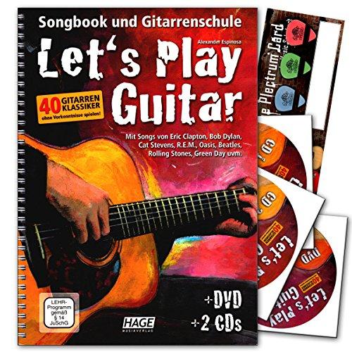Let's Play Guitar Band 1 mit 2 CDs, DVD und Musik-Schubert Plektrum-Card©- Songbook und Gitarrenschule : Gitarre spielen lernen mit 40 Gitarrenklassikern - Verlag Hage - EH3757 9783866261587