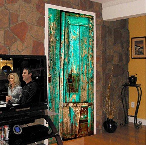 Autocollants de porte mural bricolage porte en bois 3D auto-adhésif imperméable Modélisation éco-rénové l'art mural Papier peint PVC amovible Décorations Accueil ,facile à appliquer,1 Jeu (2 pc)
