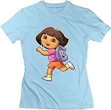 StaBe Women Dora Explorer T-Shirt Short Sleeve Retro L SkyBlue