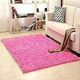 lulalula Alfombra de yoga suave y suave para sala de estar, dormitorio, mesita de noche, 80 cm x 120 cm (rojo rosa)