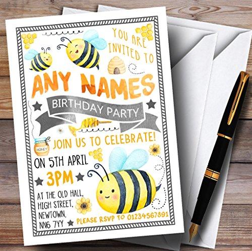 Busy Bumble Bee Childrens誕生日パーティー招待状 80 Invitations