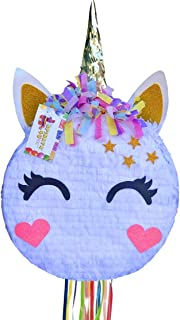 APINATA4U Small Round Unicorn Pinata Pull Strings & Whack Style