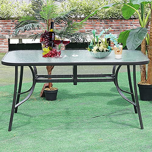 Outdoor Rectangle Dining Table Tempered Glass Top with Parasol Hole for Garden Patio Balcony Backyard Black, 150 * 90 * 72cm