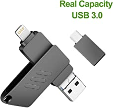 iOS Flash Drive for iPhone Photo Stick 128GB Memory Stick USB 3.0 Thumb Drive Jump Drive Photo Backup iflash External Storage Lightning Memory Stick for iPhone iPad Android Type C and Computers Black