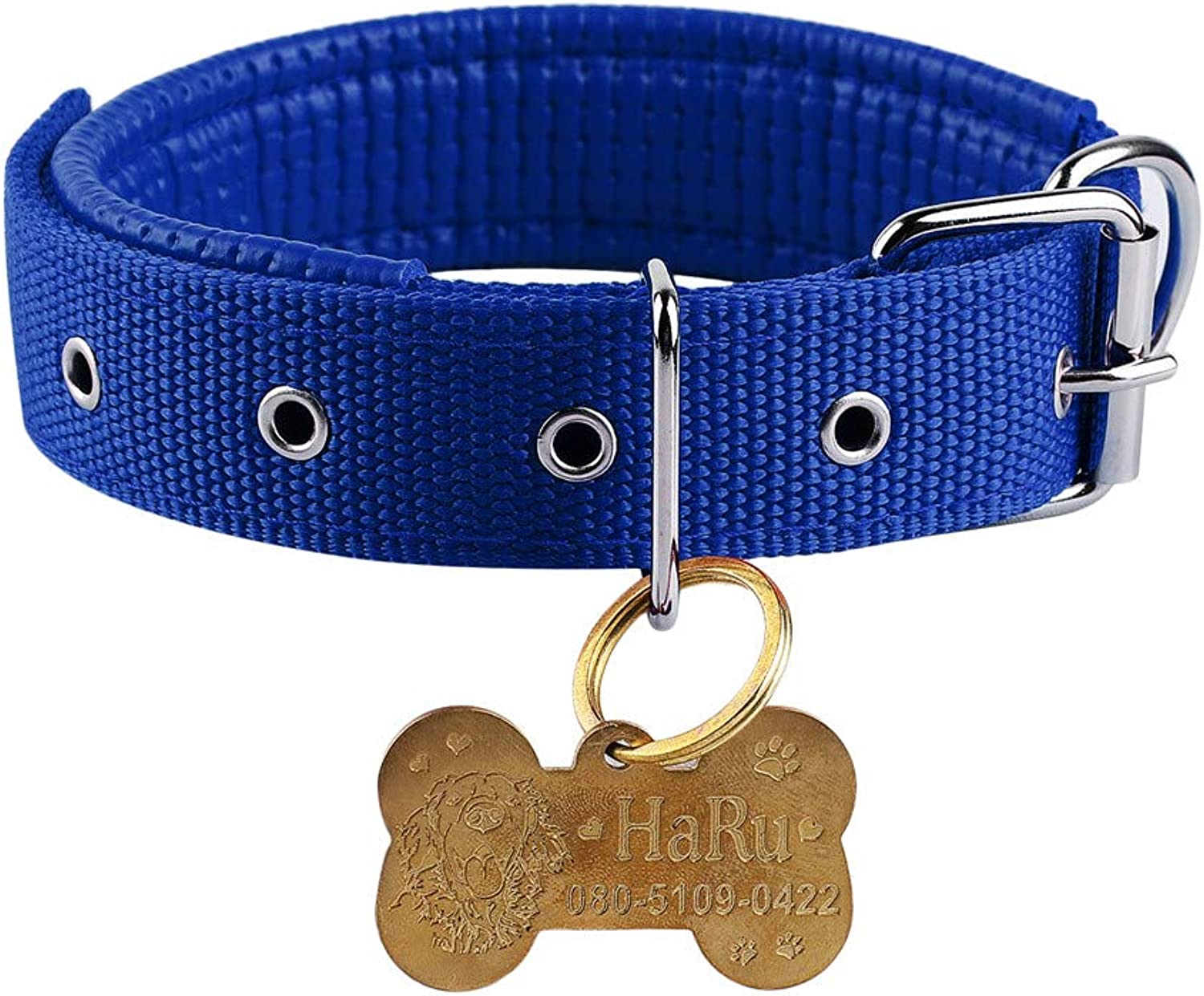 Boknight Personalised Dog Collars for Small Medium Large Dogs, Stainless Steel Bone Shaped Dog Tag Free Engraving for Cats Dogs