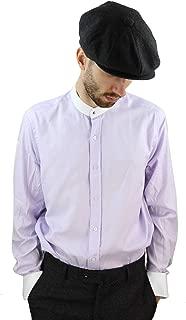 Giobellini Mens Peaky Blinders Herringbone Shirt Detachable Collar Penny Button Collarless