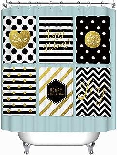 YOLIYANA Modern Creative okjeffmas Cards Black Gold Vector Shower Curtain okjeffl Shower Curtain 71''Long x 59''Wide
