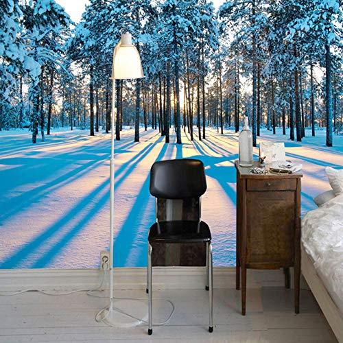 Mddjj Fotobehang, modern, sneeuw, landschap, bos, zonsopgang, 3D-muurschildering, woonkamer, slaapkamer, wanddecoratie, decoratie voor thuis 400 x 280 cm