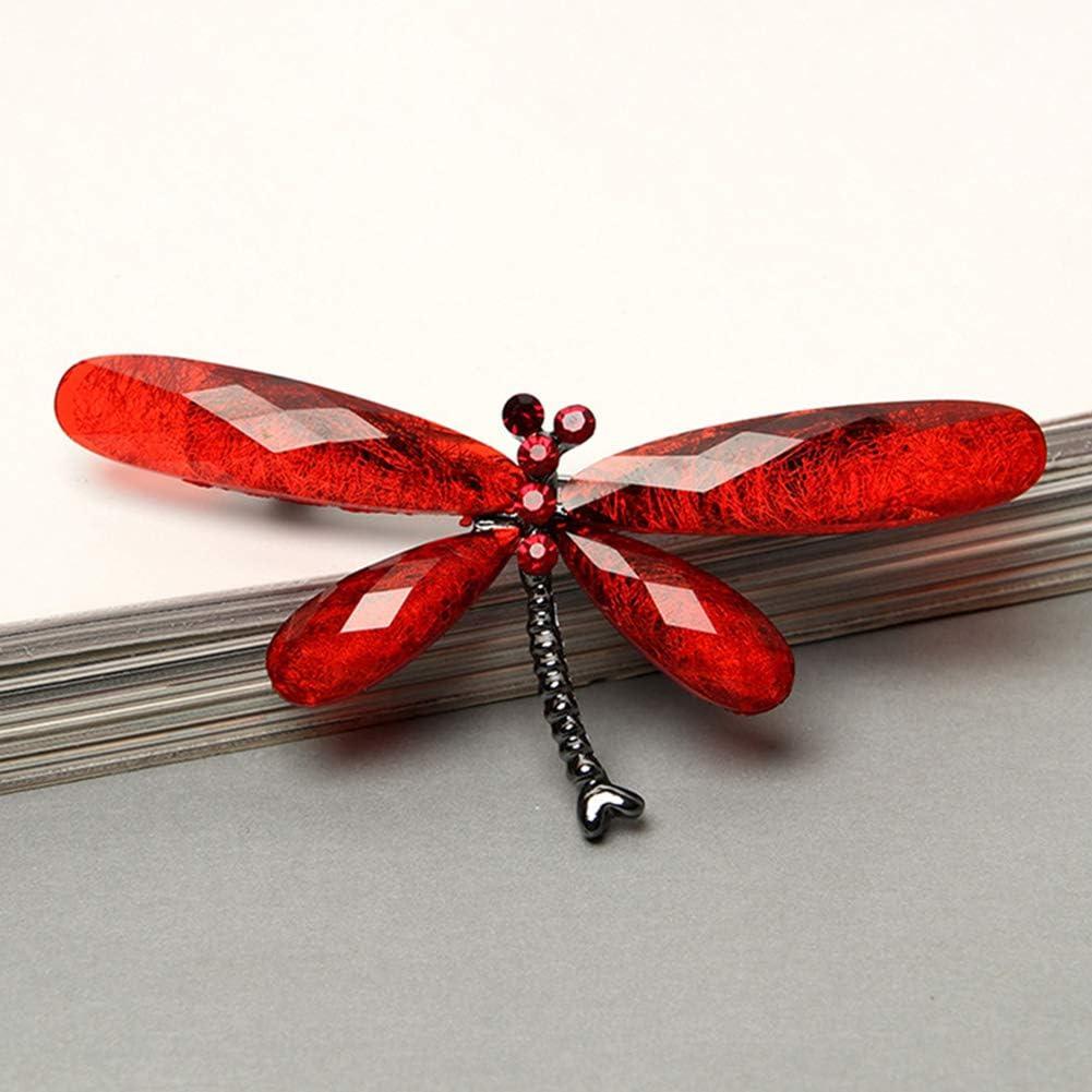 Vintage Rhinestone Insect Dragonfly Shape Brooch Pin Animal Breastpin Black HaHawaii Brooch Pins for Women Purple