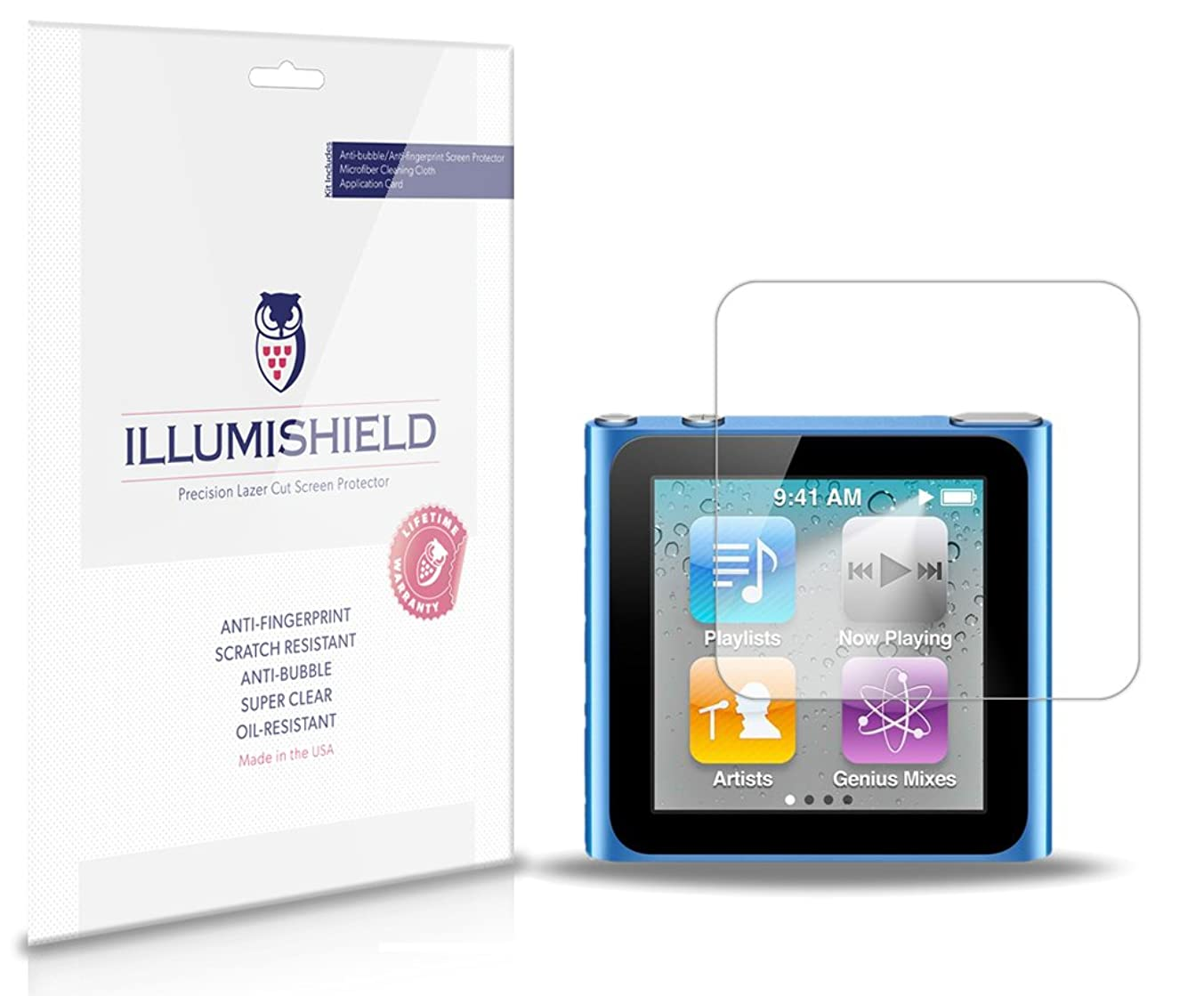Apple iPod nano 6 Screen Protector (6th Gen)[3-Pack], iLLumiShield - Japanese Ultra Clear HD Film with Anti-Bubble and Anti-Fingerprint Shield