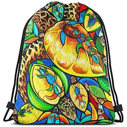 GeorgoaKunk Kordelzug Rucksack Roberto Turtle.JPEG 3D-Druck String Bag Sackpack Cinch Tragetaschen Geschenke für Frauen Männer Fitnessstudio Einkaufen Sport Yoga