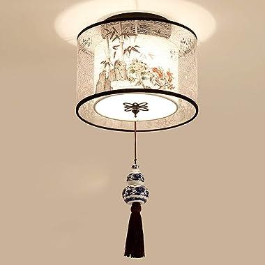 Luminaire créatif plafonniers chinois rond carré plafonniers tissu pour salon allée abat-jour tissu abat-jour