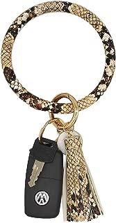 Wristlet Keychain Large Circle Bangle Key Ring Leather Silicone Bracelet Tassel Key Holder for Women Girl