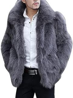 Men's Winter Lapel Short Faux Fur Animal Grey Coat Jacket Outwear