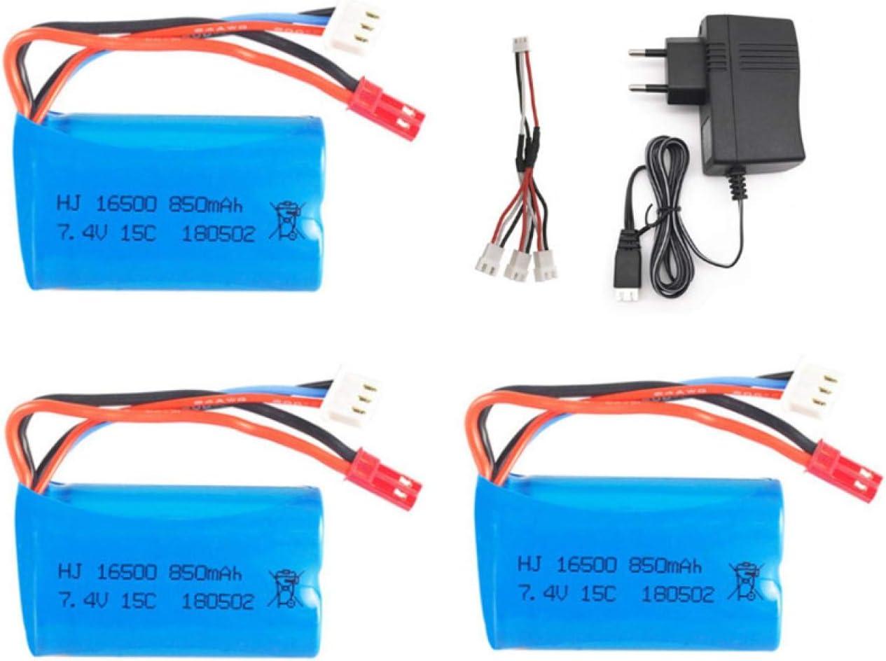 NHFGJ Bater/ía para Barco RC Hq956 para Syma X6 803875 Avi/ón RC Fx060 9114 Juguetes Repuestos De Coche 16500 7,4 v 850 Mah Juego De Cargador De Bater/ía Blue