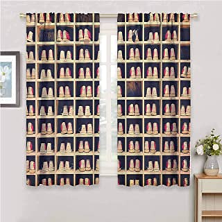 Bowling Party Drapes Panels Collection of Bowling Shoes in Their Rack Vintage Style Print Curtains for Living Room Pale Yellow Red Black 96 x 72 inch