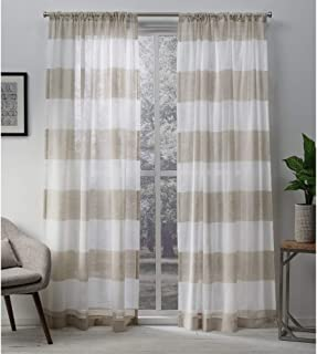 Exclusive Home Curtains Darma Sheer Linen Window Curtain Panel Pair with Rod Pocket, 50x96, 2 Piece