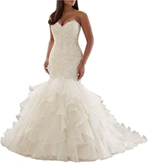 Women's Sweetheart Lace Appliques Beading Wedding Dress Organza Ruffles Court Train