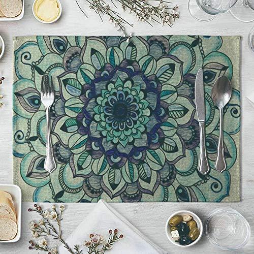 Cotton Linen Placemats Set for 4 40x30cm, Mandala Pattern Blue Green Unique Placemats Indoor Dining