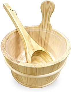 Sauna Wooden Bucket and Ladle Kit,Uwecan Sauna Accessories with Liner for Sauna & SPA - Made of Premium Finland Pinewood(Pinus silvestris) - 6L