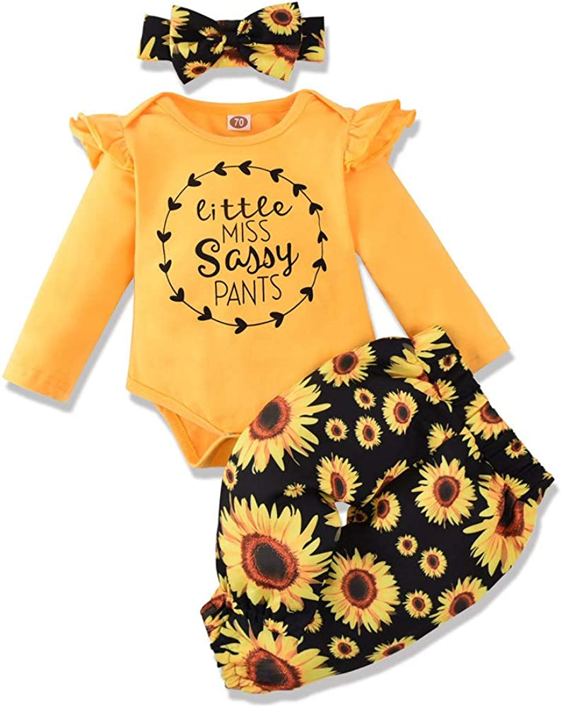 Newborn Baby Girls Clothes Letter Print Romper Jumpsuit Bodysuit+Sunflower Pants+Headband Outfit Sets