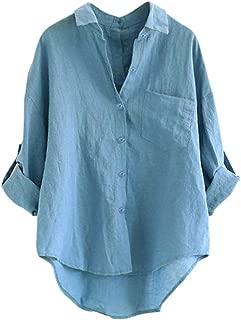 Riou-Giacca Top da Donna Manica Lunga Abbigliamento Casual Magliette Larghe Maglietta Bottone Camicia Lungo Irregolare