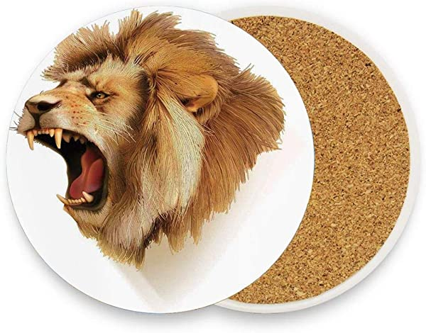 Roaring Wild Lion Head Safari African Animal Majestic Absorbent Ceramic Stone Coasters For Drinks Coasters With Cork Back For Home Office Bar