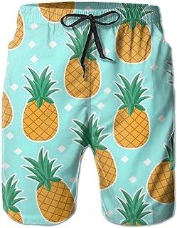 Lixinli Men's Pineapple Fruit Repeat Quick Dry Beach Shorts