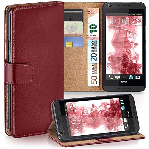MoEx® Booklet mit Flip Funktion [360 Grad Voll-Schutz] für HTC Desire 626G | Geldfach & Kartenfach + Stand-Funktion & Magnet-Verschluss, Dunkel-Rot