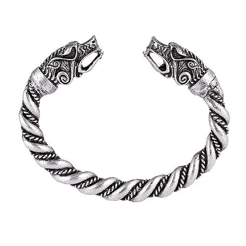 445d982327383 MYAROMA FINDINGS Large Norse Viking Wolf Bangles Bracelets