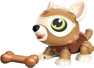 AUKE STEM DIY Robot Dog Toy, Children's DIY Smart Puppy, Electronic pet Puppy with Bone, Eating, Yawning, Music Multiple F...