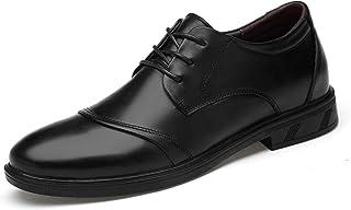 DADIJIER Oxfords Vestido Zapatos para Hombres Captoe Redondo Toe Stitching 3-Eye Encaje Up Block Heel Cuero Genuino Suela