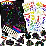 Raimarket Scratch Art for Kids Girls Toys 74 Pcs Arts and Crafts for Kids Rainbow Paper Set   4 5 6 7 8 9 10 Year Old Girls Gifts and Presents for Party Games and Birthday