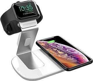 2in1 Qi ワイヤレス充電器 AppleWatch対応 アップルウォッチ同時充電 Seneo WaveMat136 7.5W/10W/5W 急速充電 iPhoneXS/XS Max/XR/X/8/8 Plus、Galaxy S9/S9+/S8/S8+ その他Qi対応機種 充電スタンド アルミニウム合金製 日本語取説