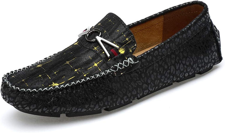MUMUWU Men's Fashion Moccasins Metal Decoration Soft & Super Light Slip On Driving Loafer Fashion (color   Black, Size   9.5 D(M) US)
