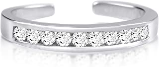 Kezef Sterling Silver Toe Rings Round Cut Cubic Zirconia White Channel Set Gold Plated Black and Rhodium