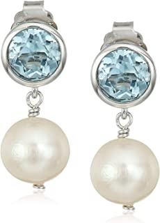925 Sterling Silver Bezel-Set Gemstone and 8mm White Freshwater Cultured Pearl Stud & Drop 3/4