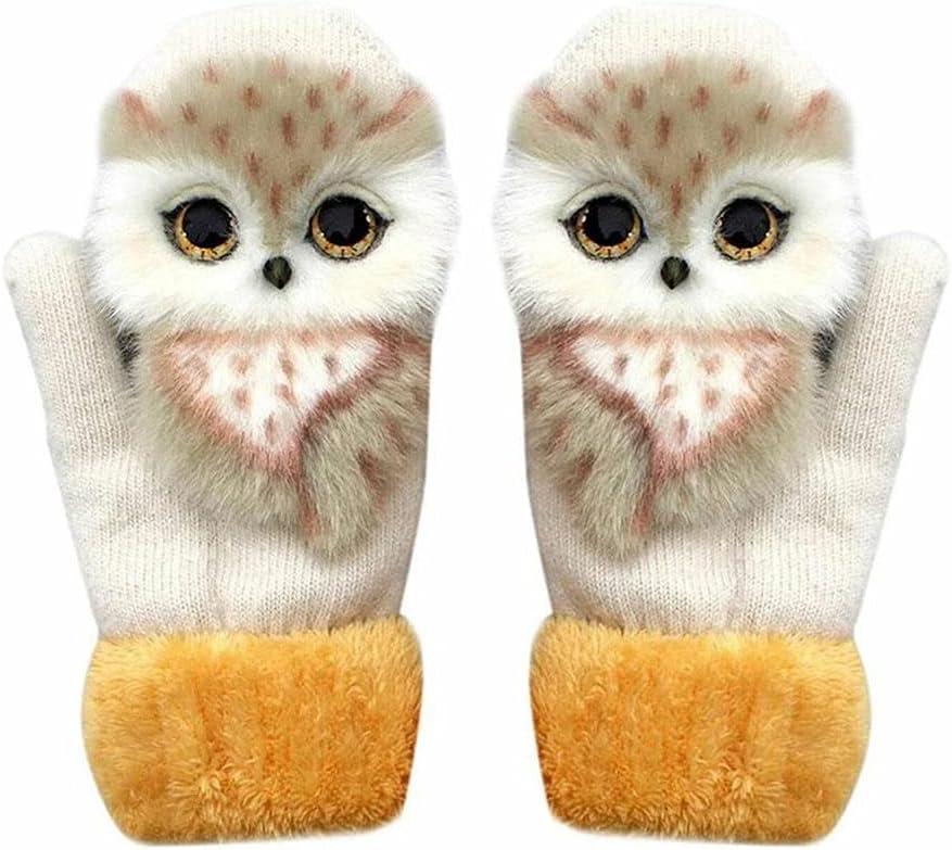 WBDL Animal Cat Dog Panda Racoon Design Kid Winter Warm Long Cute Girl Fashion Princess Mittens Fingers Soft Gloves