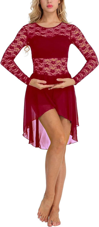 Women Adult Ballet Leotard for Women Ballet Dance Dress Long Sleeve Floral Lace Asymmetric,