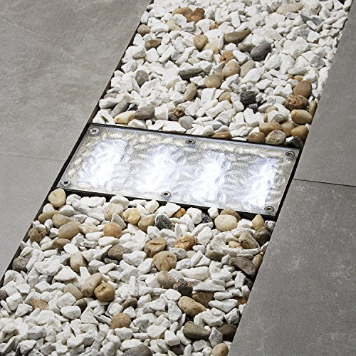 Solar Brick Landscape Path Light, 8x4 Recessed Polyresin Paver, Cool White LEDs, Waterproof, Outdoor Use, No Wires or Plugs - Rechargeable Battery Included
