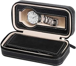 Caja De Reloj, Caja De Reloj con Cremallera, Bolso De Viaje Portátil para Reloj, Caja De Reloj De Cuero PU De 2 Cuadros Ne...