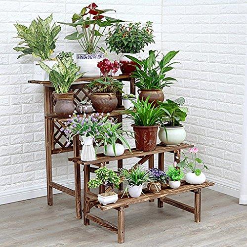 Jardinière en bois massif Multicouches Intérieur et Extérieur Porte-pots de fleurs Antiseptique Deux tailles Couleur carbonisée (taille : 96 * 90 * 97cm)