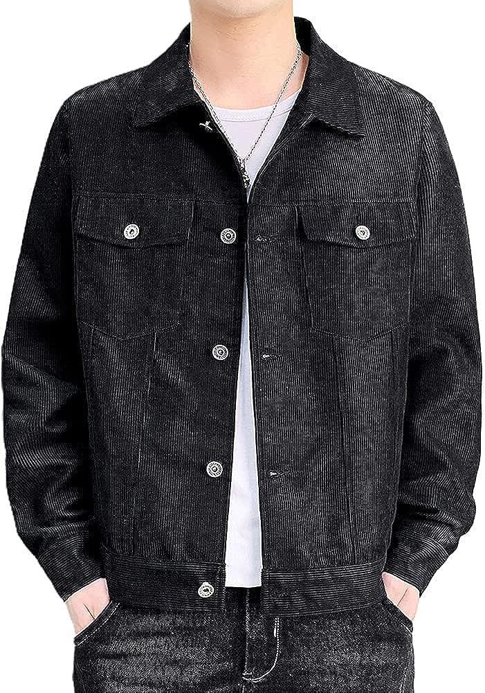 chouyatou Men's Spring Fall Vintage Casual Work Wear Lightweight Corduroy Jacket