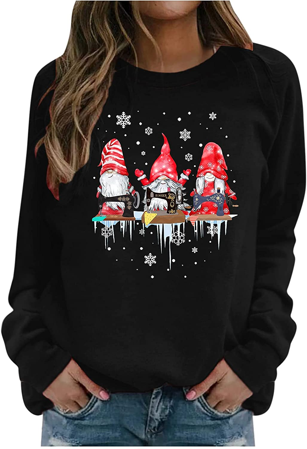 Christmas Gnome Shirts for Women Plus Size Crewneck Pullover Snowflake Graphic Tshirt Casual Holiday Fall Tops Sweatshirts
