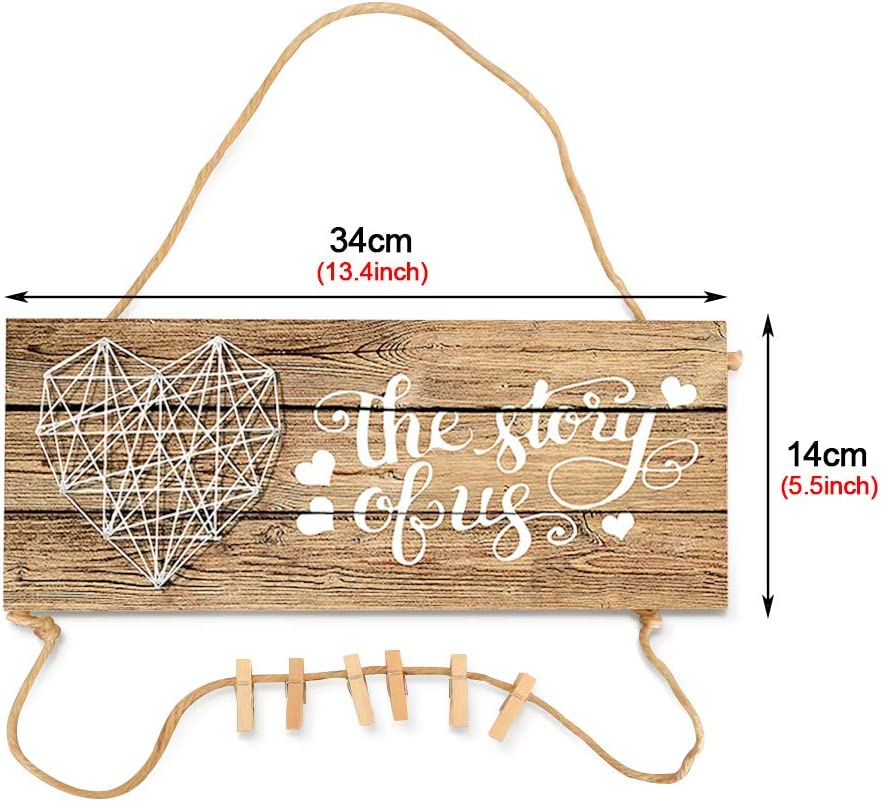 cocina decoraci/ón de pared para sal/ón Placa de pared r/ústica con clip de foto 34 x 14 cm entrada dormitorio dise/ño de casa de campo Walant Planken