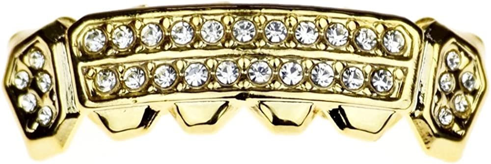 14K Gold Plated Grillz 2 Two Row Bottom Lower Row Side Bling Iced Teeth Hip Hop Mouth Grills